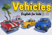 Vehicles with sounds and phrases in English for kids